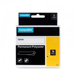 PRINTLINE kompatibilní páska s DYMO 18484, 19mm, 5.5m, bílý tisk/bílý podklad, RHINO, polyesterová