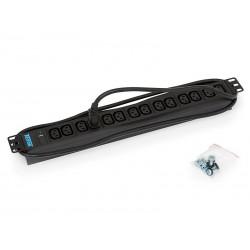 Triton 19',14xIEC C13,kontrol.,3x1.5mm 2m kabel  IEC320 C14, RAL9005