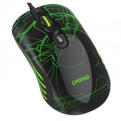 CRONO myš OP-636G/ gaming/ drátová/ laser/ 3200 dpi/ LED podsvícení/ USB/ černo-zelená