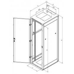 """Triton 19"""" rozvaděč stojanový 42U/600x1000, perforované dveře, šedý"""