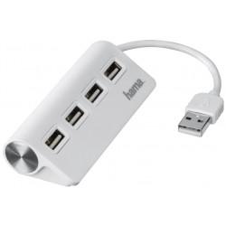 HAMA USB HUB/ 4 porty/ USB 2.0/ bílý