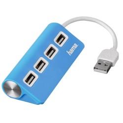 HAMA USB HUB/ 4 porty/ USB 2.0/ modrý