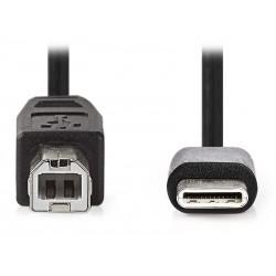 NEDIS kabel USB 2.0/ zástrčka USB-C - zástrčka USB-B/ černý/ 1m