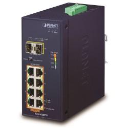 PLANET Průmyslový L2 PoE 1Gbps switch, 8xTP + 2xSFP, 802.3at 30/240W, IP30, -40~+75°C, 48-56VDC