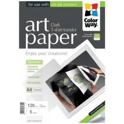 COLORWAY nažehlovací papír/ na  ART/ textil/ 120g/m2, A4/ 5 kusů