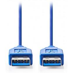 NEDIS kabel USB 3.0/ zástrčka A - zástrčka A/ modrý/ 2m