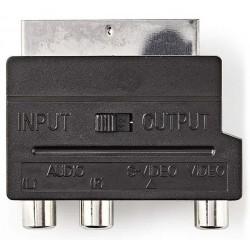 NEDIS přepínatelný SCART adaptér / SCART zástrčka - S-Video zásuvka + 3x RCA zásuvka/ černý