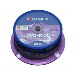 VERBATIM DVD+R DoubleLayer 8,5GB/ 8x/ MATT SILVER/ 25pack/ spindle