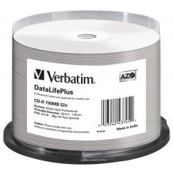 VERBATIM CD-R 700MB DLP/ 52x/ 80min/ WIDE Profesional Printable/ 50pack/ spindle