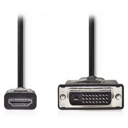 NEDIS kabel HDMI - DVI/ konektor HDMI - 24+1pinová zástrčka DVI-D/ černý/ 2m