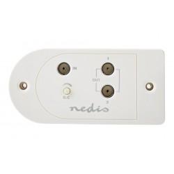 NEDIS zesilovač CATV/ maximální zesílení 25 dB/ 40–862 MHz / 2 výstupy/ konektor IEC/ bílý