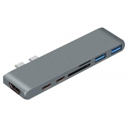 XtendLan Dokovací stanice 7in1 s dvojitým USB-C(3.1), HDMI(F)4K, USB C (F) PD, USB C (F) Thunderbolt, SD čtečka,2xUSB3.0