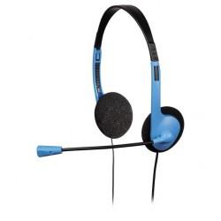 HAMA headset HS-101/ drátová sluchátka + mikrofon/ 2x 3,5 mm jack/ citlivost 110 dB/mW/ černo-modrá