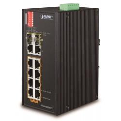 Planet IFGS-1022HPT, PoE switch 8x 100Base-TX, 2x TP 1000Base-X, 2x SFP+, 802.3at 240W, PoE ext,-40 až 75st.C