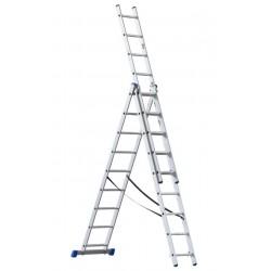 G21 hliníkový žebřík třídílný 3x9 příček 5,9m