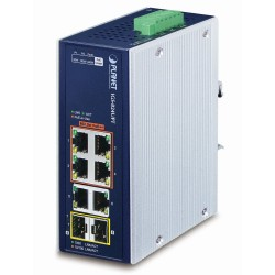 PLANET Průmyslový PoE switch, 6x1Gb + 2x1Gb SFP, 4x PoE 802.3bt 90/240W, -40až75°C, dual 48-54VDC, IP30, fanless