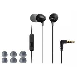 SONY headset do uší MDREX15APB/ sluchátka drátová + mikrofon/ 3,5mm jack/ citlivost 100 dB/mW/ černá