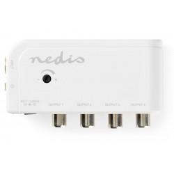 NEDIS zesilovač CATV/ maximální zesílení 10 dB/ 50–790 MHz/ 4 výstupy/ konektor IEC/ bílý