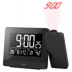HAMA budík Plus Charge/ s projekcí času/ USB konektor pro nabíjení mobilu/ černý