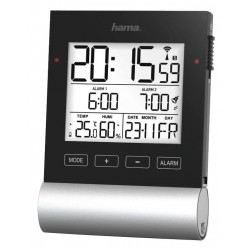 HAMA budík Black Line/ řízený rádiovým signálem/ s teplotou/vlhkostí vzduchu/ 3x AAA baterie/ černý