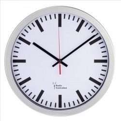 HAMA nástěnné hodiny Station/ průměr 30 cm/ řízené rádiovým signálem/ 1x AA baterie/ bílo-stříbrné