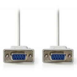 NEDIS sériový kabel/ D-SUB 9-pin zásuvka - D-SUB 9-pin zásuvka/ slonovinová/ 2m