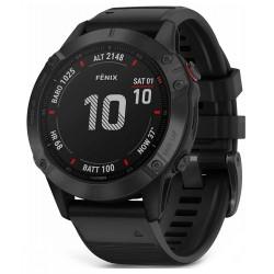 GARMIN GPS chytré hodinky fenix6 PRO Glass, Black/Black Band (MAP/Music)