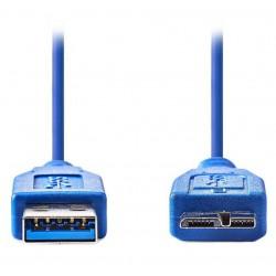 NEDIS kabel USB 3.0/ zástrčka A - zástrčka micro B/ modrý/ 50cm