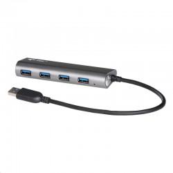 I-tec USB HUB METAL/ 4 porty/ USB 3.0/ napájecí adaptér/ kovový