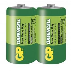 GP zinko-chloridová baterie 1,5V C (R14) Greencell 2ks fólie