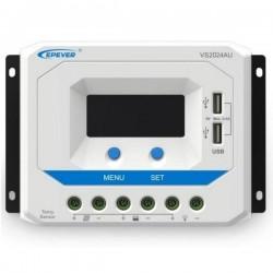 GWL/POWER VS2024AU solární PWM regulátor 12/24 V, 20 A, USB, vstup 50V