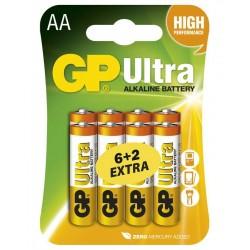 GP alkalická baterie 1,5V AA (LR6) Ultra 8ks blistr (6+2ks ZDARMA)