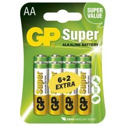 GP alkalická baterie 1,5V AA (LR6) Super 8ks blistr (6+2 ZDARMA)