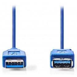 NEDIS prodlužovací kabel USB 3.0/ zástrčka A - zásuvka A/ modrý/ 2m