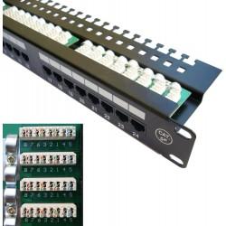 "DATACOM Patch panel 19"" UTP 24 port CAT5E LSA 1U BK (3x8p)hor.záře"