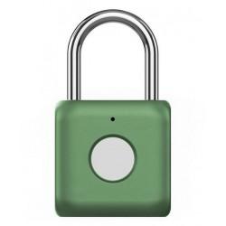 UODI visací zámek/ s otiskem prstu/ slitina zinku a oceli/ rozměr 33 x 58.8 x 15 mm/ IPX2/ váha 60 g/ micro USB/ zelený