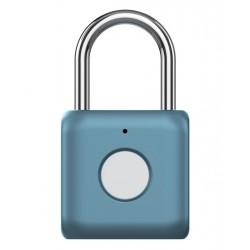 UODI visací zámek/ s otiskem prstu/ slitina zinku a oceli/ rozměr 33 x 58.8 x 15 mm/ IPX2/ váha 60 g/ micro USB/ modrý