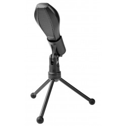 NEDIS stolní všesměrový mikrofon/ duální kondenzátor/ s tříramenným stojanem/ USB/ citlivost -38dB/ černý