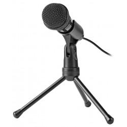 NEDIS stolní všesměrový mikrofon/ tlačítko ON/OFF/ s tříramenným stojanem/ 3,5mm jack/ citlivost -30dB/ černý