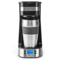 NEDIS kávovar/ na jeden hrnek/ dvoustěnný cestovní hrnek/ kapacita 0,42 l/ časovač/ černý