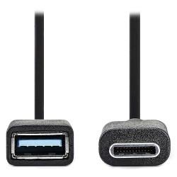 NEDIS adaptér USB 3.0/ zástrčka C - zásuvka A/ černý/ 15cm