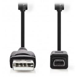 NEDIS datový kabel pro fotoaparát OLYMPUS/ USB 2.0 A zástrčka - 12-pinová zástrčka/ černý/ 2m