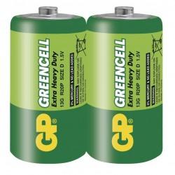 GP zinko-chloridová baterie 1,5V D (R20) Greencell 2ks fólie