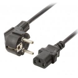 NEDIS napájecí kabel 230V/ přípojný 10A/ konektor IEC-320-C13/ úhlová zástrčka Schuko/ černý/ 3m