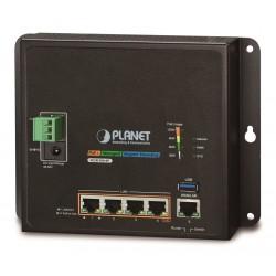 Planet WGR-500-4P, průmyslový PoE router, 1xWAN 1Gbps, 4xLan 1Gbps, PoE 802.3at do 120W, DIN, dual 48-56VDC, -10 až 60°C