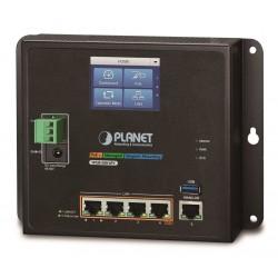 Planet WGR-500-4PV, průmyslový PoE router, 1xWAN+4xLAN 1Gbps, PoE 802.3at 120W, DIN, dual 48-56VDC, -10až60°C, touch LCD