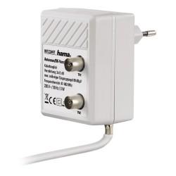 HAMA zásuvkový anténní rozbočovač se zesilovačem/ zesílení 2 x 12dB/ frekvenční rozsah 47 až 862 MHz/ bílý
