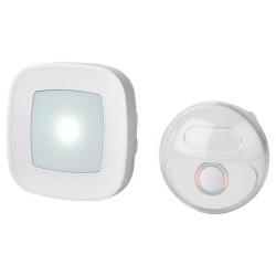 NEDIS sada bezdrátového domovního zvonku/ napájení ze sítě/ 36 melodií/ dosah 300 m/ 80 dB/ blikající LED/ bílá