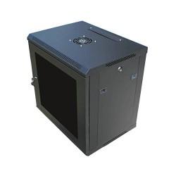 """DATACOM 19"""" rozvaděč nástěnný 9U/450mm černý, skleněné dveře"""