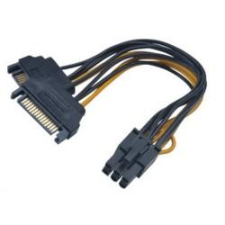 AKASA adaptér 2x SATA na 6pin PCIe / AK-CBPW13-15 / černý / 15cm
